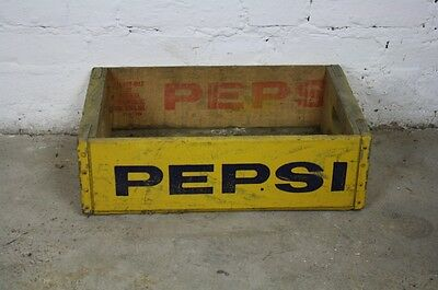 VINTAGE WOODEN PEPSI SODA CRATE 70s RETRO TRUG BOX YELLOW