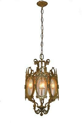 Antique Bronze Chandelier With 4 Candle Light Sockets & 8 Etched Glass Panels
