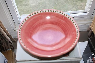 "Solimene Pottery~Vietri~Italy~Bowl Red Cow~Bull~8 3/4""~Pretty Bowl~Soup~Serving"