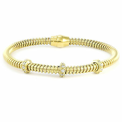 """Yellow Gold Plated Sterling Silver Flexible Bracelet, 8"""" (NEW 925, 13.2g) #3496"""