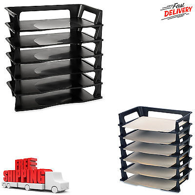 6 Pack Stackable Letter Tray Desk Office File Document Paper Holder Organizer