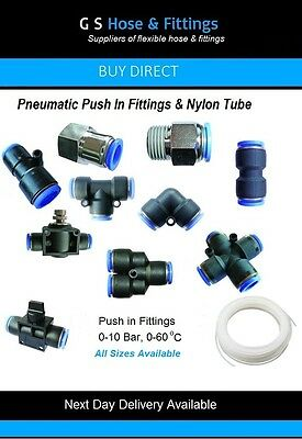 Nylon Pneumatic hose tube inline push fit connector air line airline elbow tee