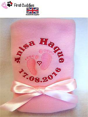 PERSONALISED BABY PRAM BLANKET with EMBROIDERED CUTE BABY FEET AND GIFT WRAPPED