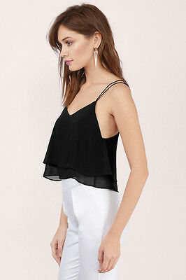 a58effdd8b5 Tobi Abela Double Layer Crop Top - Small - Black - NWT