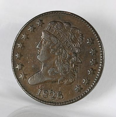 Raw 1826 Classic Head 1/2C Uncertified Ungraded Early US Copper Half Cent Coin !