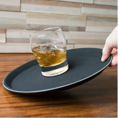 14 Inch Non Slip Serving Tray   Black Drinks Trays Waiters Round Tray Food Bar