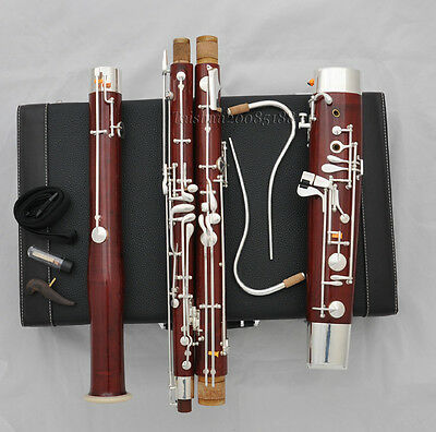 High grade Maple wooden silver plated key C tone Bassoon with case
