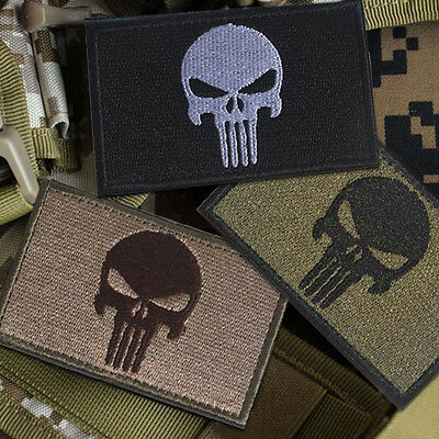 3 Pcs Punisher Skull Swat Ops Army Military Tactical Morale Badges Patch