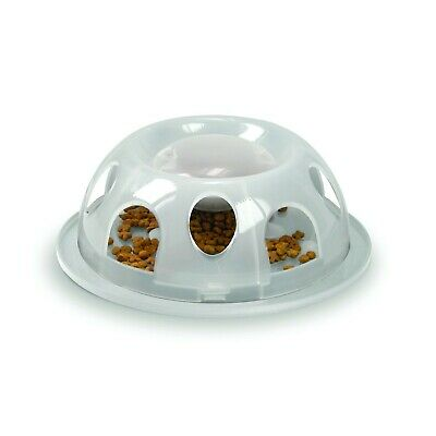 Smarcat Tiger Interactive Lightweight Plastic Slow Food Bowl for Cats - Clear