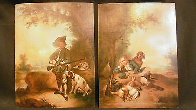 Antique Pair of English Painting oil on board of hunt scenes 19th