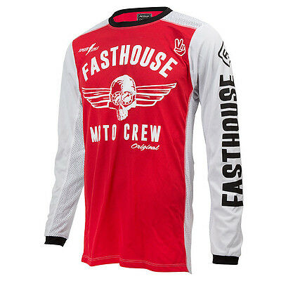 Fasthouse NEW Mx Original Dirt Bike Vintage Red White Vented Motocross Jersey