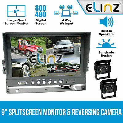 "9"" Quad Split Screen Monitor 2x CCD 4PIN Reversing Backup   Camera Truck Trailer"