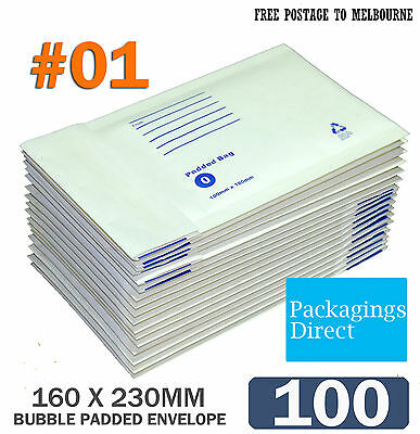 100x  Padded Bag #01 Bubble Envelope 160x230mm SIZE 01 - White Printed