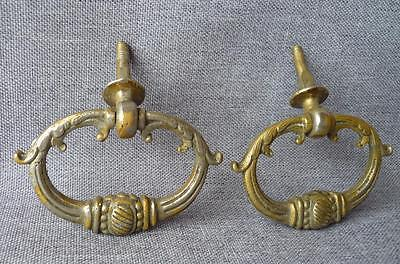 2 Antique french drawer handles early 1900's made of bronze diameter 2 1/2""