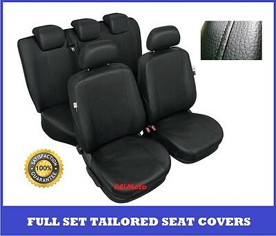 Black Eco Leather Tailored Full Set Seat Covers Ford Focus Mk1 Mk2 up to 2010
