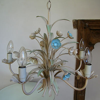 Lovely Vintage Shabby Chic Flowers Italian Tole Ceiling Light Fixture Chandelier