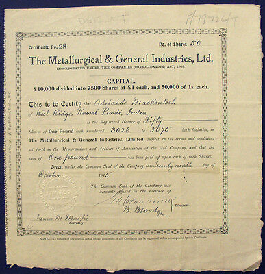 England Metallurgical and General Industries alte Aktie 1915