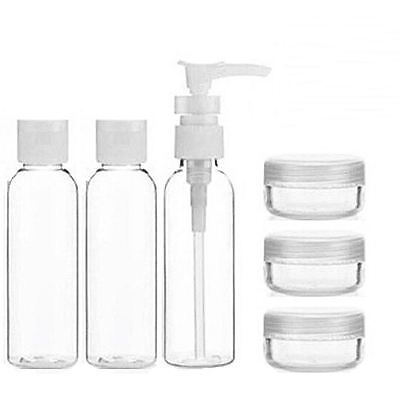 6 Pc Piece Toiletry Travel Bath Set Clear Bottle Air Port Flight Holiday 100ml
