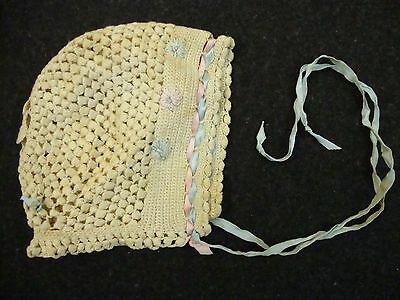 Vintage White Beige Baby Bonnet Pink & Blue Ribbons Flowers Crocheted Hand Made