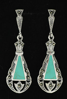 Fine Art Deco Style Turquoise Marcasite Earrings 925 Sterling Silver