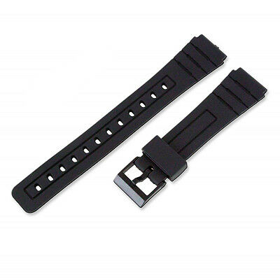 Replacement Rubber Watch Strap Band for Casio F-91W and more - 18mm - Black