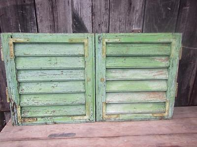 A  PAIR SHABBY FRENCH WOODEN  VINTAGE ORIGINAL  WINDOW SHUTTERS 45x40 cm