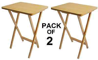 2 X Snack Table Compact Folding TV Laptop Coffee Natural Wooden Veneer Top Table