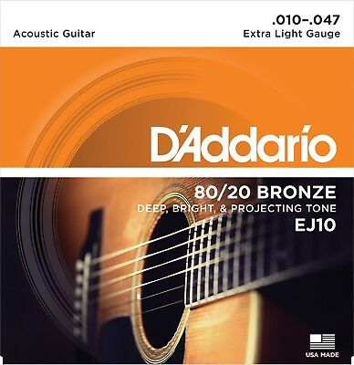 3 Sets D'Addario EJ10 80/20 Bronze Acoustic Guitar Strings  Extra Light 10-47