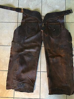 Vintage Old West Hand Stitched Rawhide Leather Chaps w 2 Pockets & Holster