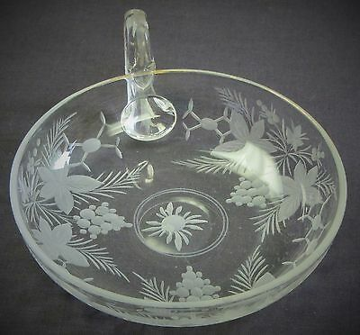 Small Antique Clear Glass Bowl with Handle and Etching of Grapes and Leaves