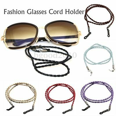 Strong Faux Braided Leather Sunglasses Spectacle Glasses Neck Cord Strap Holder