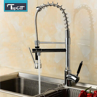 Modern Chrome Monobloc Kitchen Sink Pull Out Spray Faucet Mixer Tap Hot & Cold