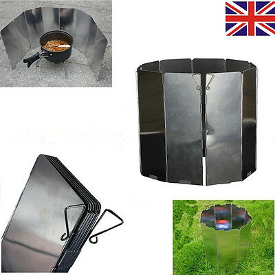 UK 10 plates Outdoor Fold Camping Cooker Gas Stove Wind Shield Screen Foldable