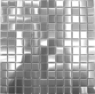 1 SQ M Brushed Stainless Steel Metal Kitchen Bathroom Mosaic Wall Tiles 0036
