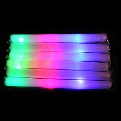 LED Multicolor Light Up Foam Sticks Cheer Batons Flash Party Glow Tubes 19''