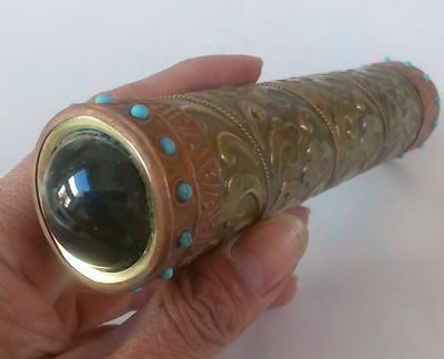 Collectibles Old Decorated Handwork Copper Inlay Turquoise Beads Kaleidoscope #4