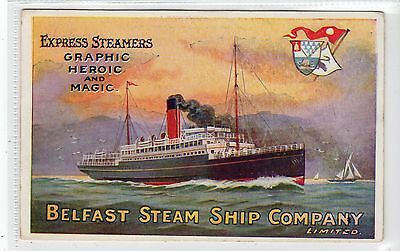 BELFAST STEAM SHIP COMPANY: Poster type advertising postcard (C16114)