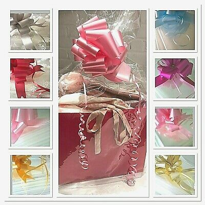 Large-xx Cello Bag & Bow Easy To Use Hamper Cellophane Wrap Christmas Baby Mums