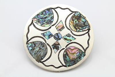 Large Round Pendant-Brooch with Abalone Inlay in Heavy Sterling Silver