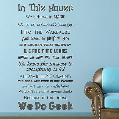 In this house WE DO GEEK | Vinyl wall art sticker | Decal QUOTE films WQB34