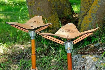 Luxury Hunting Handmade Strong Leather Shooting Stick Seat Chair Stool