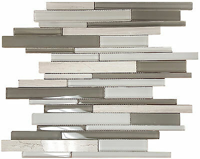 Polished Beige Marble, Taupe & White Polished & Frosted Glass Mosaic-10 Per Box