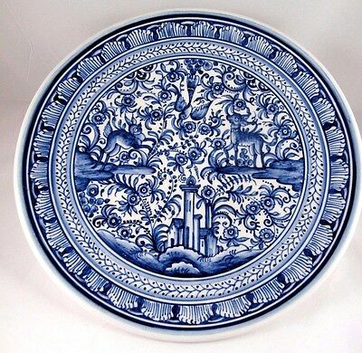 Hand Painted Decorative Dish XVII Century Recreation Made in Portugal