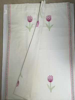 Pair Pottery Barn Kids White Linen Embroidered Tulip Lined Drape Panel Two 44x96