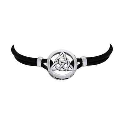 Celtic Knotwork Trinity .925 Sterling Silver Leather Cord Necklace Peter Stone