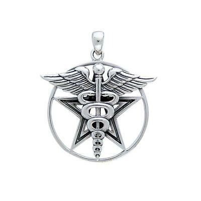 Pagan Wicca Pentacle Caduceus .925 Sterling Silver Pendant by Peter Stone