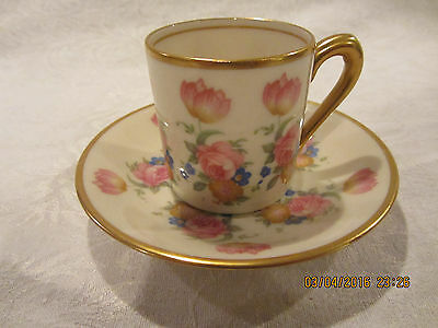 Fine Concorde China Demitasse Cup & Saucer With Floral Decoration