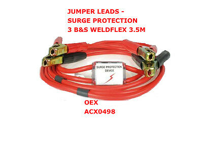 Jumper Leads With Surge Protection 3 B&s Weldflex 3.5M Acx0498 Battery Jumper
