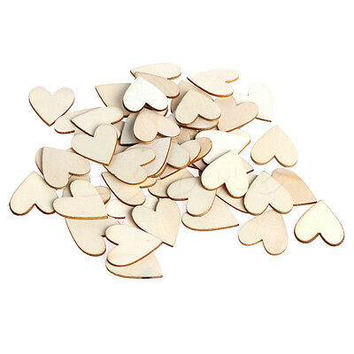 50pcs Wooden Wood Love Heart Pieces Painting DIY Craft Cardmaking Scrapbooking