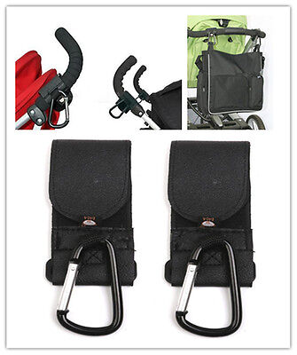 2x Metal Leather Buggy Mommy Clips Baby Pram Pushchair Stroller Hooks Handle new